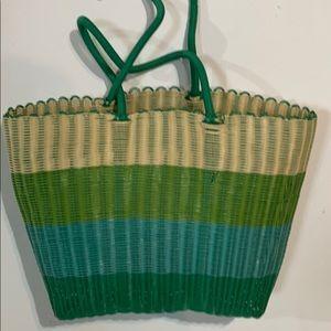 Handmade market basket.  Colourblock green stripes